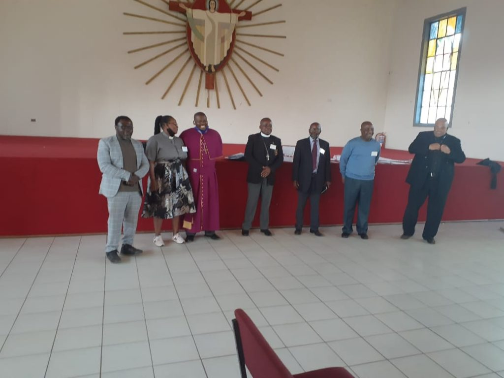 from left: Rev Khulekani Msomi, Rev. Fikile Nhlangulela (both representative Pastors to Diocesan Council; Presiding Bishop of ELCSA Rt Rv Bishop Ubane (who was Presiding elections); bishop Elect Nkosinathi Myaka; Deputy Chairperson Mr Ntombela; Chairperson of the Diocesan Council Mr Falithenjwa Mkhize and Mr Wakefield (president of General ELCSA Assembly)